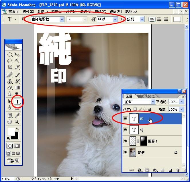 Photoshop 影像設計 Photoshop 後製修圖  - Photoshop 入門教學 - 圖層面板 - 文字編排練習【二】 - Layer_02_10