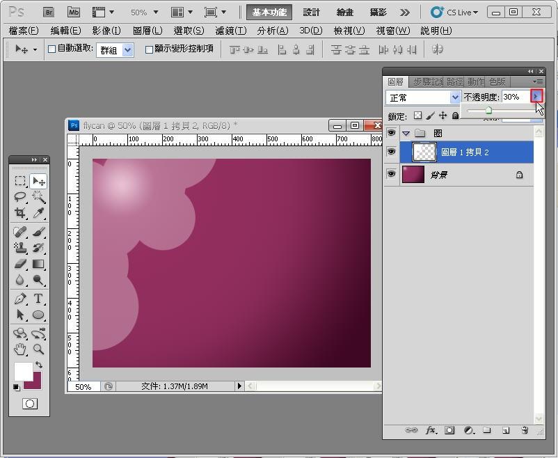 Photoshop 影像設計  - Photoshop 入門教學 - 色塊不透明度 - SNAG0063