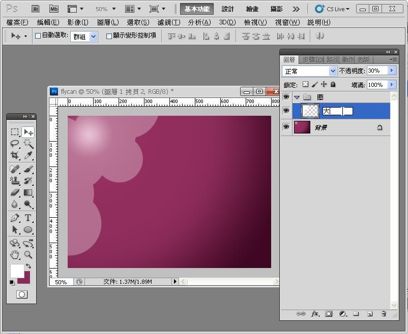 Photoshop 影像設計  - Photoshop 入門教學 - 色塊不透明度 - SNAG0064
