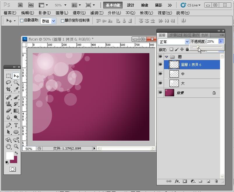 Photoshop 影像設計  - Photoshop 入門教學 - 色塊不透明度 - SNAG0073