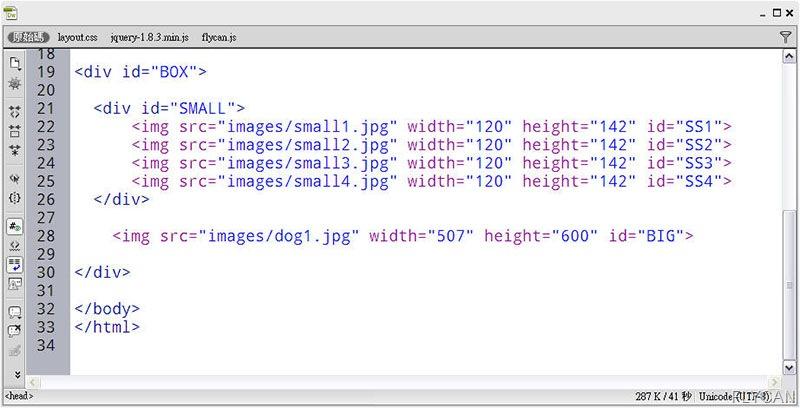 JavaScript 程式設計  - jQuery 入門教學 - 使用 attr() 抓取圖片的屬性以及改變圖片的路徑 - FLY03_thumb
