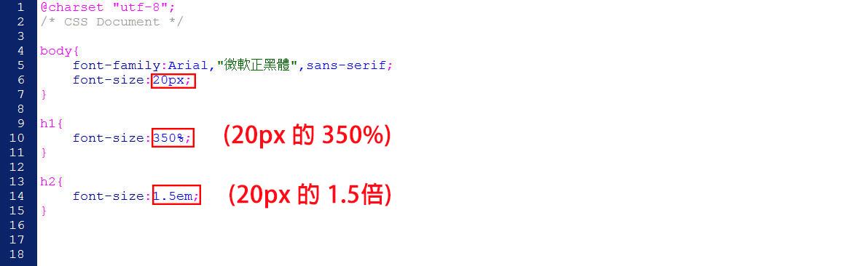 CSS 語法 - 網頁設計  - CSS 教學 - 基本文字設定 : font-size 與 line-height - p5