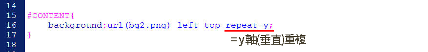 CSS 語法 - 網頁設計  - CSS教學分享文 – 重複背景圖之語法練習 - p10-1