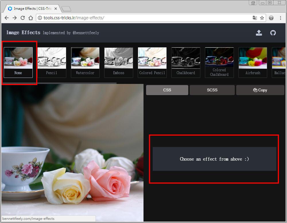 Free Resource 好康報報 Good Design 好站報報  - 【設計資源】 - 「 Image Effects 」 : 可線上套用 CSS 濾鏡特效好站 - 1