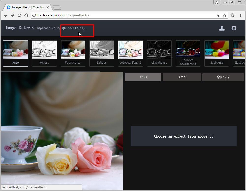 Free Resource 好康報報 Good Design 好站報報  - 【設計資源】 - 「 Image Effects 」 : 可線上套用 CSS 濾鏡特效好站 - 8