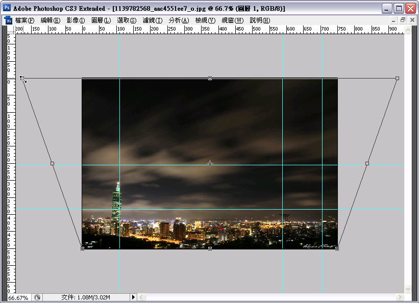 Photoshop 後製修圖  - Photoshop 教學 - 自由變形 - 修正超廣角鏡頭的變形照片 - flycan_tt_04