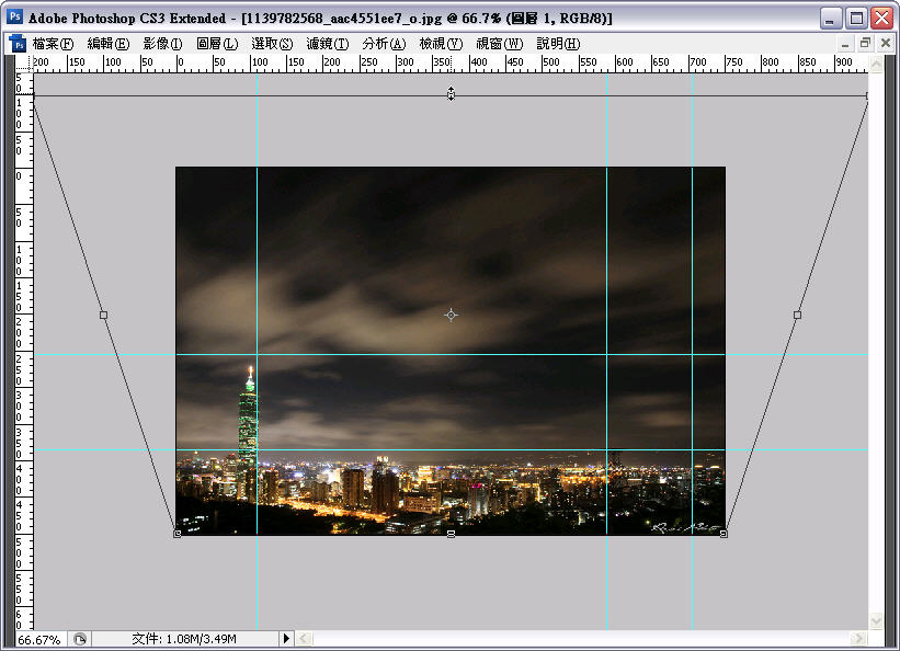 Photoshop 後製修圖  - Photoshop 教學 - 自由變形 - 修正超廣角鏡頭的變形照片 - flycan_tt_05